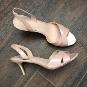 Blush nude patent leather kitten heels